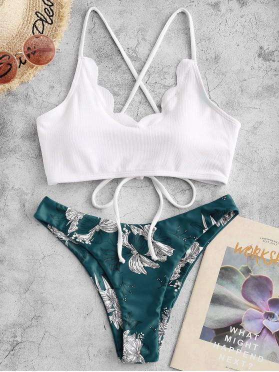 fashion ZAFUL Textured Floral Lace-up Scalloped Bikini Swimsuit - PEACOCK BLUE S