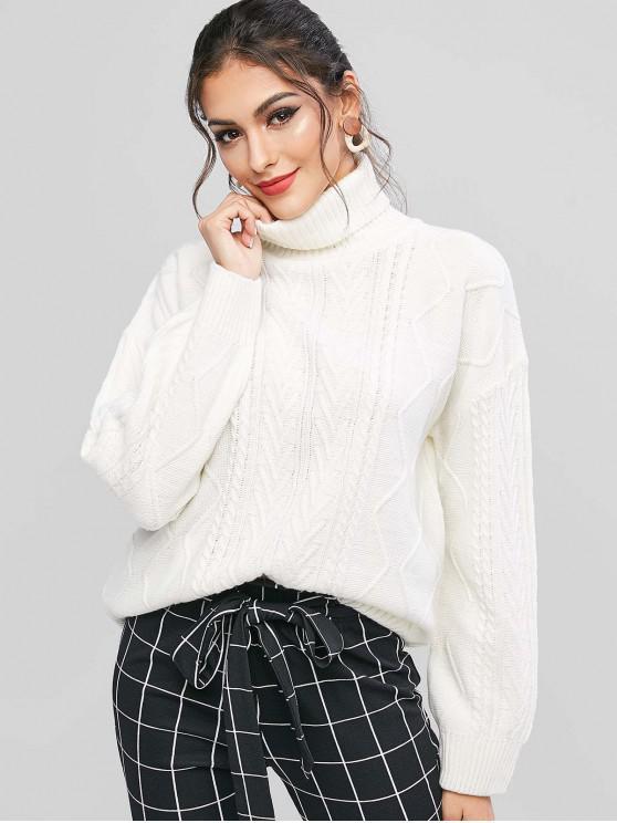 womens ZAFUL Turtleneck Drop Shoulder Jumper Sweater - WHITE S
