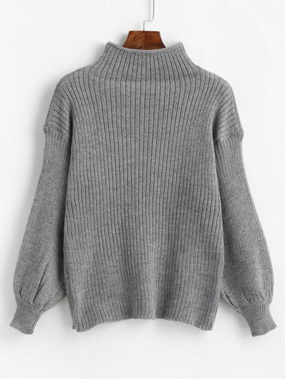 chic Lantern Sleeve Mock Neck Plain Sweater - DARK GRAY ONE SIZE