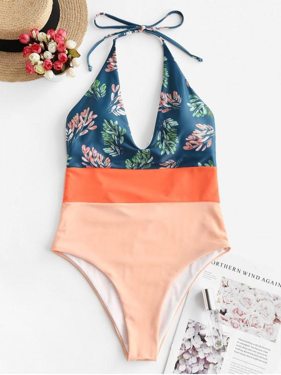 outfits ZAFUL Neon Colorblock Leaf Print High Cut Backless Swimsuit - MULTI-A L