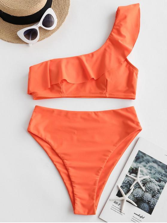 hot ZAFUL Flounce One Shoulder High Cut Tankini Swimsuit - ORANGE XL