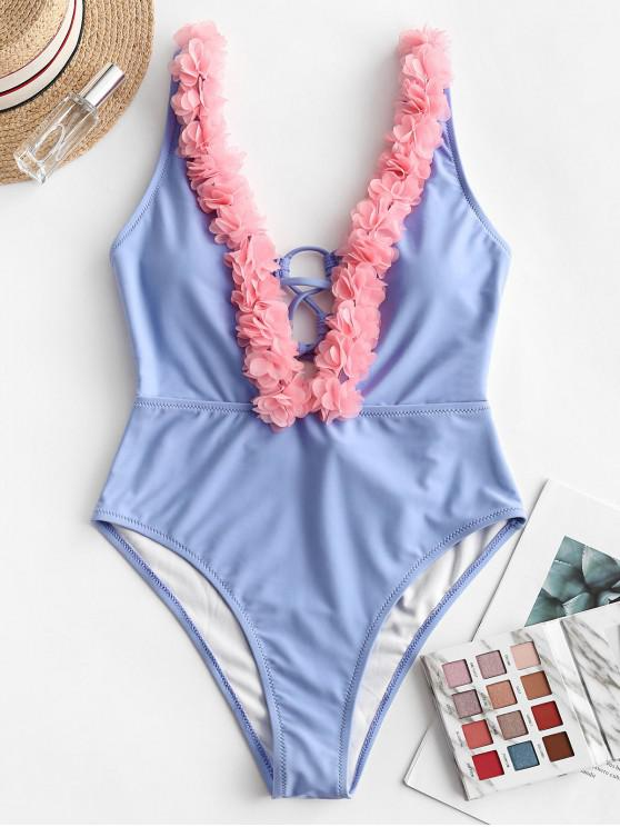 affordable ZAFUL Petal Plunge One-piece Swimsuit - CORNFLOWER BLUE S