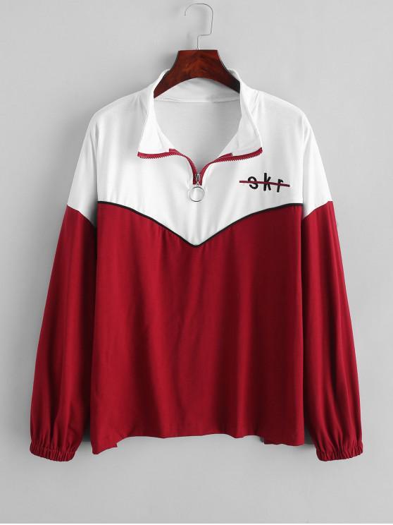 unique Letter Embroidered Quarter Zip Color Block Sweatshirt - LAVA RED L
