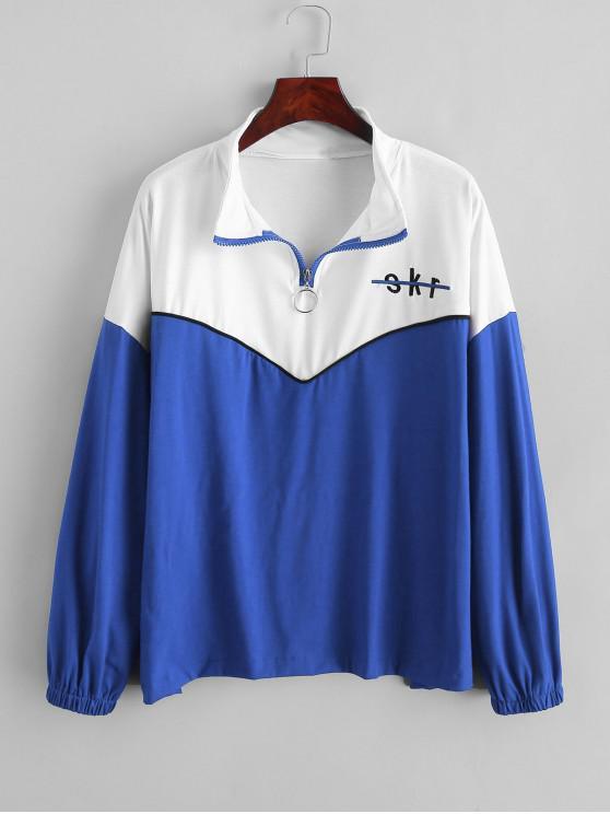 outfit Letter Embroidered Quarter Zip Color Block Sweatshirt - BLUE L