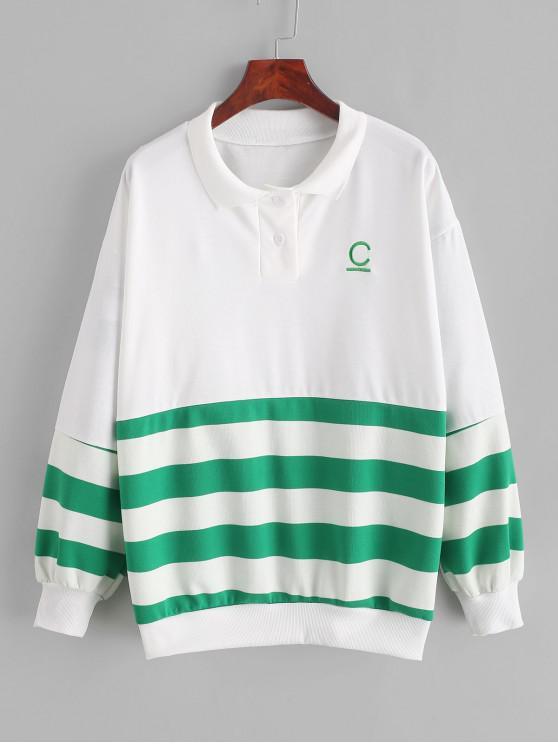 Sweat-shirt Rayé Lettre Brodée à Goutte Epaule - Vert Clair de Mer L