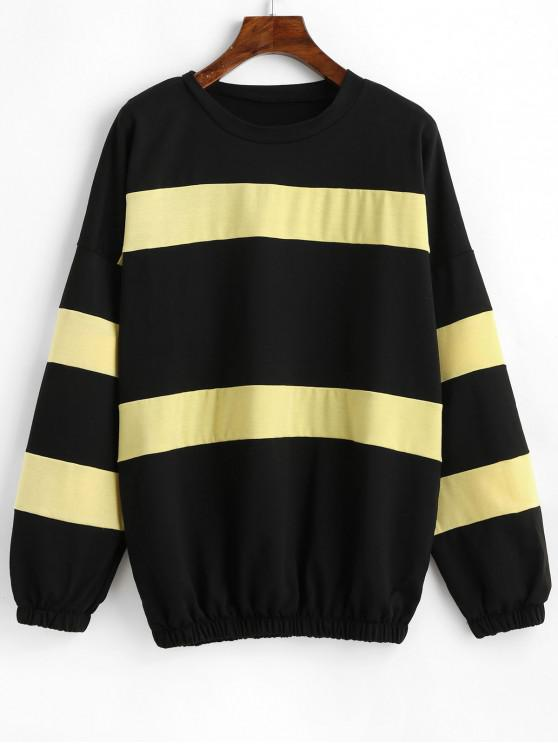 women Drop Shoulder Color Block Pullover Sweatshirt - MULTI-A M