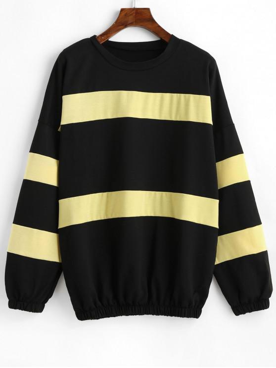 Плечо падения Цветной блок Пуловер Толстовка - Многоцветный-A XL