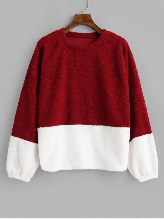 Two Tone Pullover Teddy Sweatshirt MULTI-A