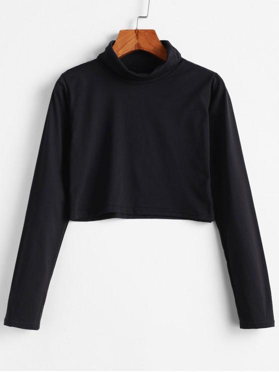 Camiseta corta de cuello alto lisa - Negro XL