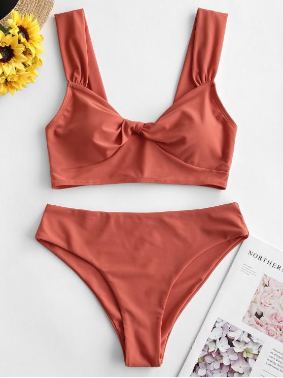 online ZAFUL Sweetheart Neck Twist Wide Strap Tankini Swimsuit - VALENTINE RED M
