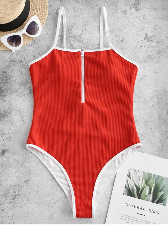 women's ZAFUL Ribbed Piping Zip High Cut One-piece Swimsuit - RED XL