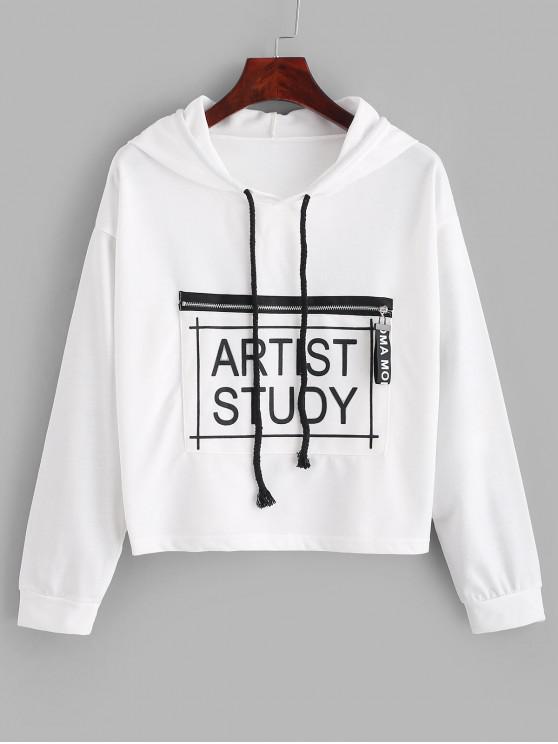 Sudadera con capucha y bolsillo con cremallera y diseño gráfico de artista con bolsillo - Blanco Talla única