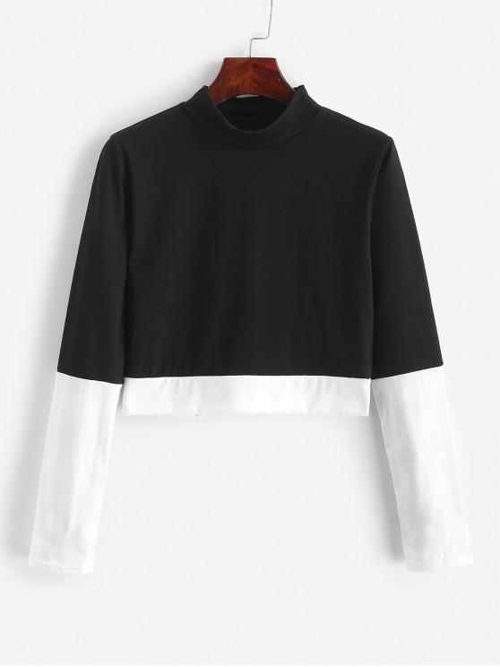 best Two Tone Mock Neck Cropped Tee - BLACK XL