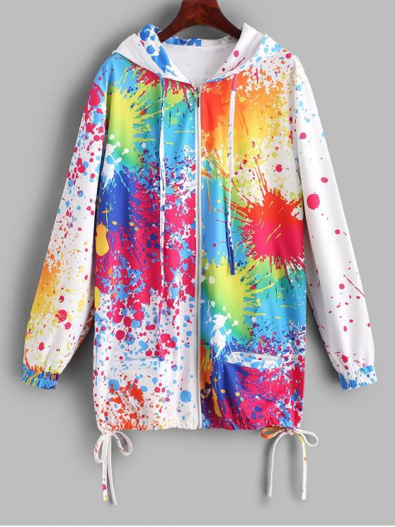 chic Splash Tie Dye Zip Up Hooded Coat - MULTI-B XL