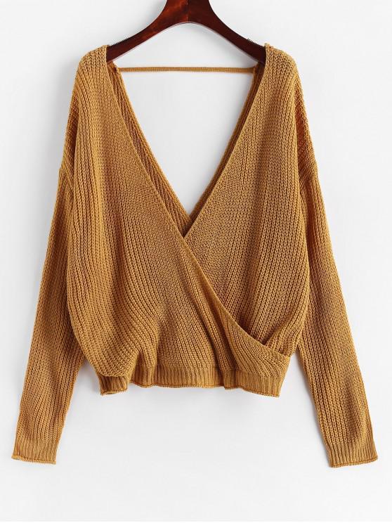 women Surplice Plunging Backless Cutout Sweater - CARAMEL M