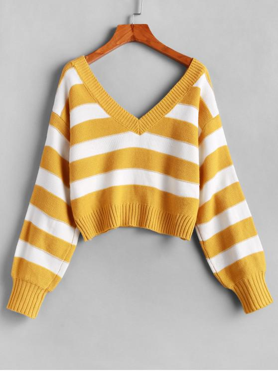 shop ZAFUL Double V Stripes Color Block Pullover Sweater - YELLOW M