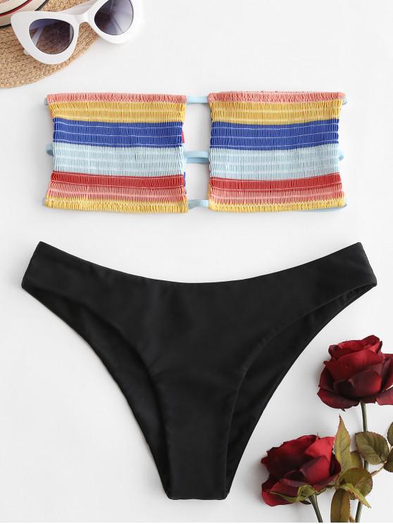 sale ZAFUL Color Block Smocked Lattice Bandeau Bikini Swimsuit - MULTI-A S