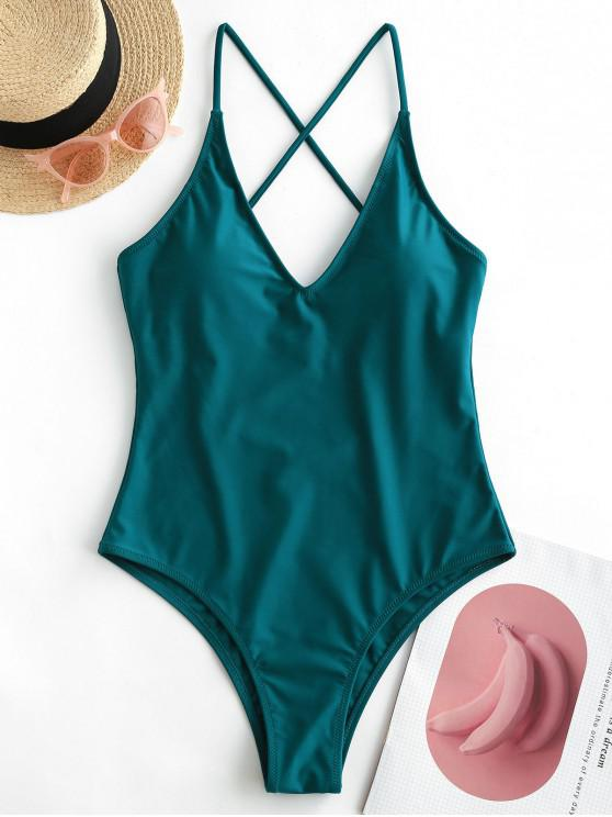 womens ZAFUL Criss Cross Basic One-piece Swimsuit - PEACOCK BLUE XL