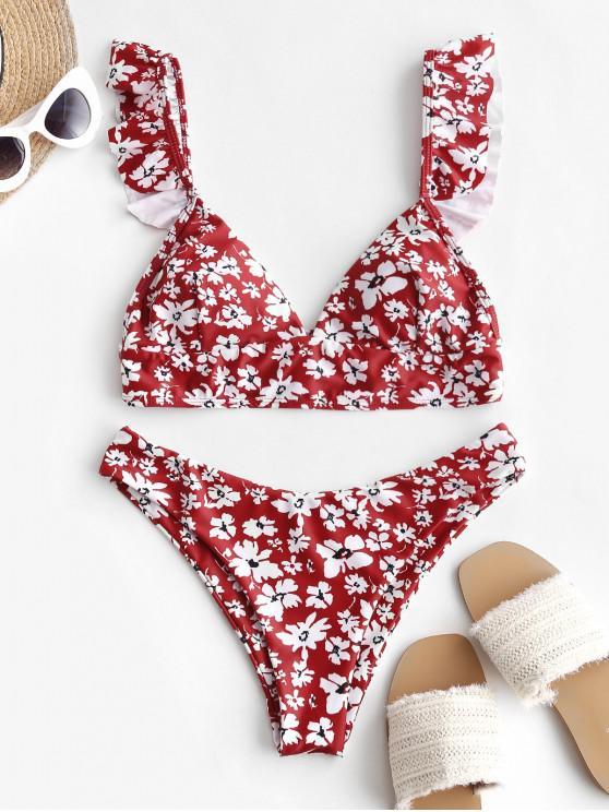 fashion Ditsy Print High Leg Ruffle Bikini Swimsuit - MULTI-A S