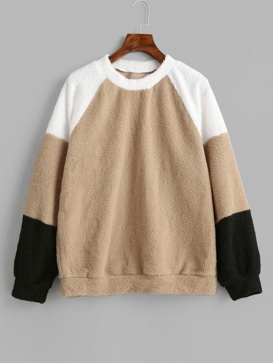 fancy Raglan Sleeve Color Block Teddy Sweatshirt - TAN S
