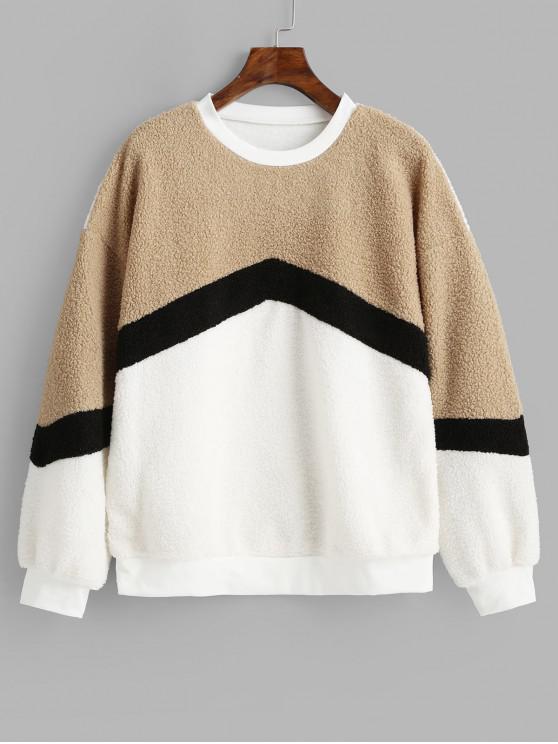 fashion Pullover Color Block Drop Shoulder Sweatshirt - TAN L