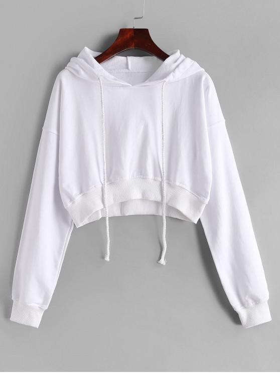 Con cordón gota hombro recortada con capucha - Blanco XL