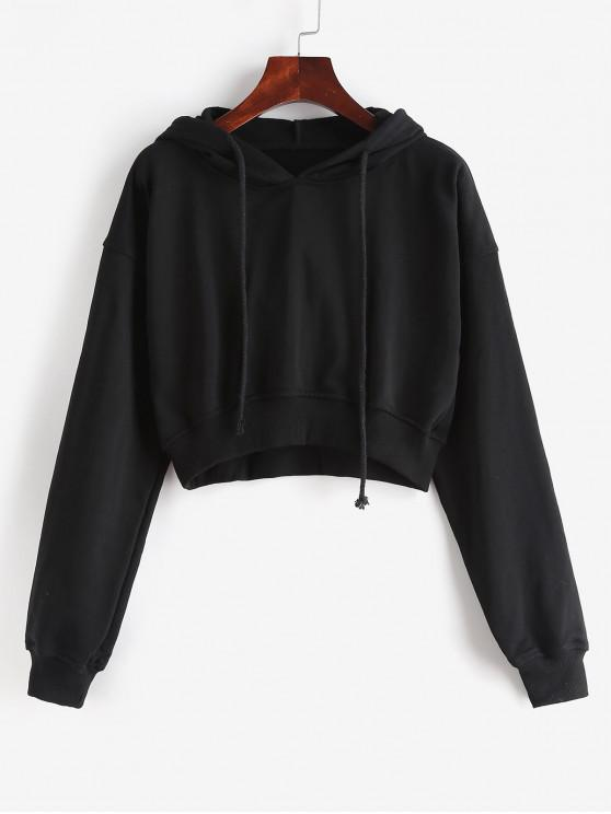 women's Drawstring Drop Shoulder Cropped Hoodie - BLACK S