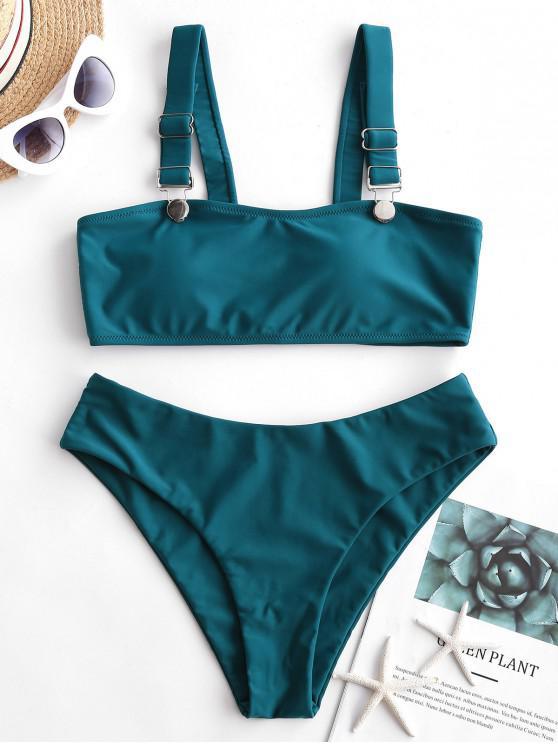 fancy ZAFUL Suspender Buckle Plain Tank Bikini Swimsuit - PEACOCK BLUE L