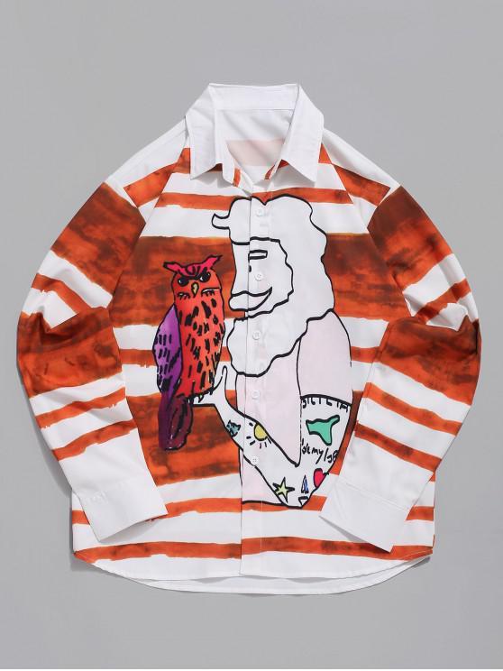 shop Character Owl Stripes Print Button Casual Shirt - MULTI 2XL