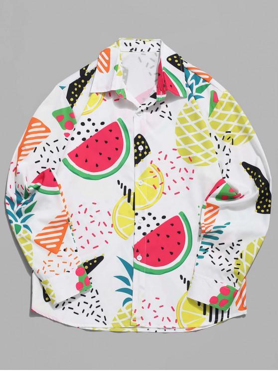 ladies Watermelon Pineapple Lemon Fruit Print Button Shirt - MULTI M