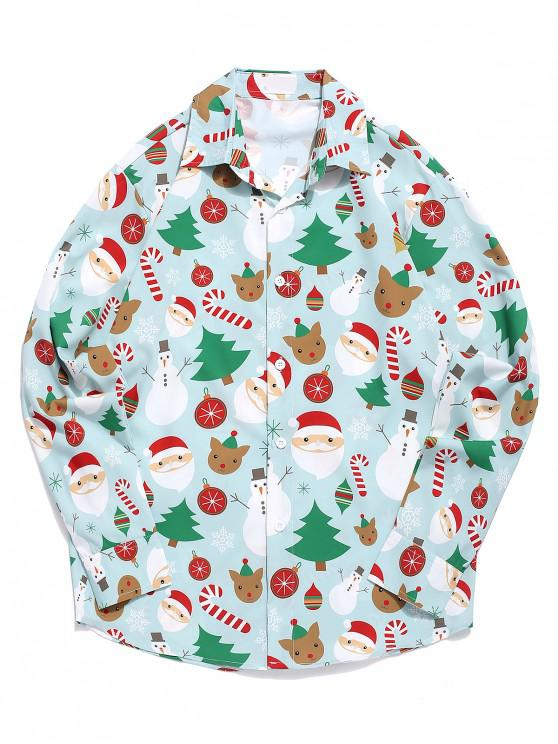 lady Christmas Santa Snowman Candy Pattern Button Up Shirt - MULTI L