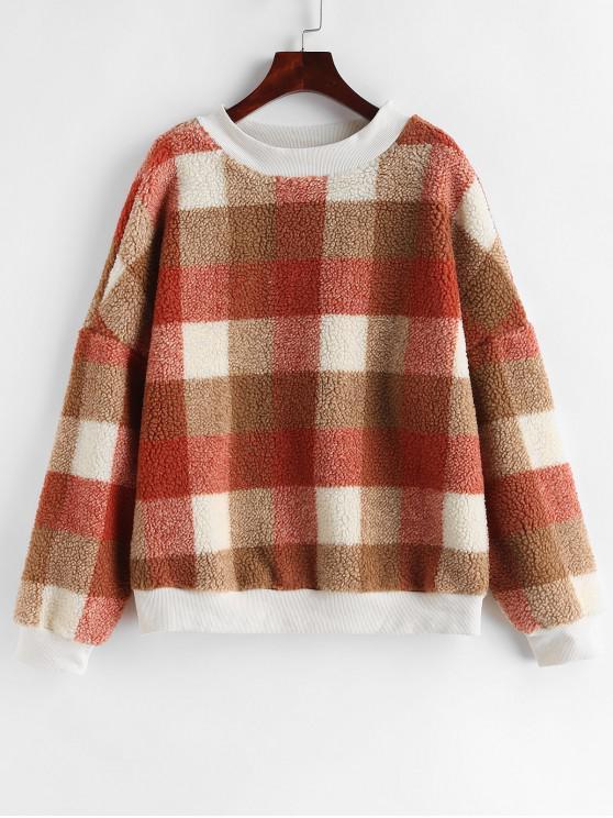 Sweat-shirt Lâche Contrasté à Carreaux en Fausse Fourrure - Multi L