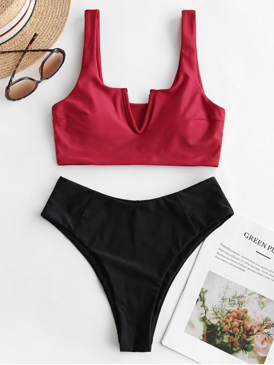 fancy ZAFUL V-wired High Leg Tankini Swimsuit - LAVA RED M