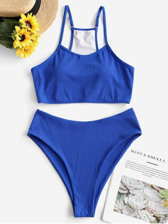 outfits ZAFUL Ribbed Neon High Cut Tankini Swimsuit - BLUE S