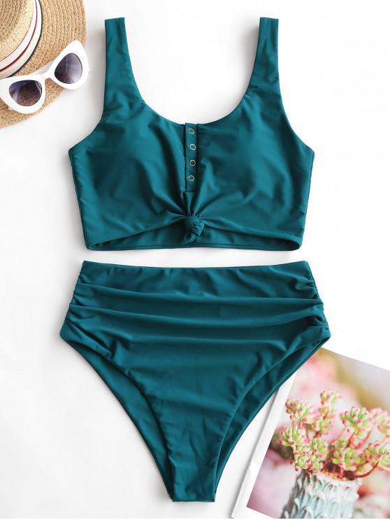 fashion ZAFUL Snap Button Knotted Tummy Control Tankini Swimsuit - PEACOCK BLUE L
