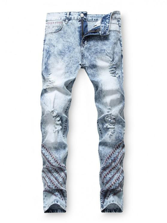 outfits Embroidery Decoration Zip Fly Ripped Jeans - DENIM BLUE 38