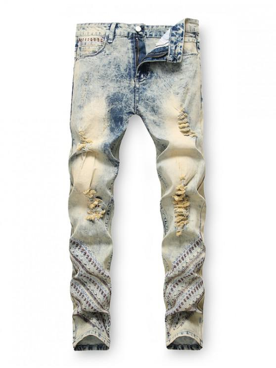 affordable Embroidery Decoration Zip Fly Ripped Jeans - JEANS BLUE 38