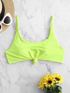 ZAFUL Knotted Scoop Neck Pullover Bikini Top - Green Yellow M