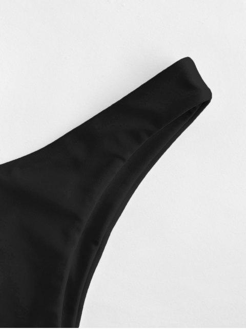Braguita de bikini de pierna alta sólida ZAFUL - Negro M Mobile