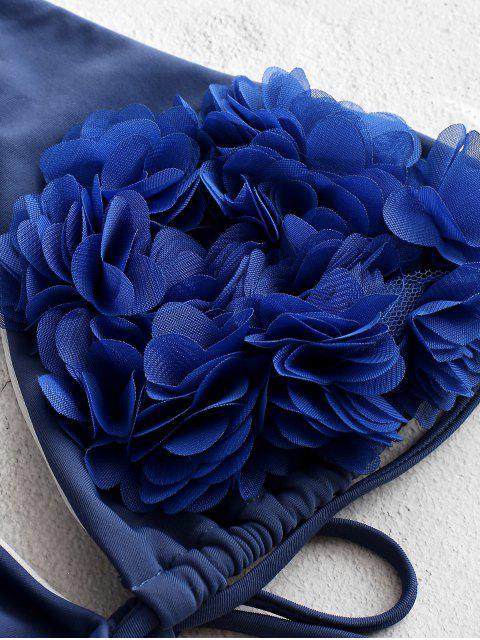 ZAFUL花瓣掛脖文胸比基尼泳裝 - 藍色 M Mobile