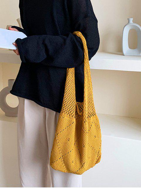 打開針織復古單肩包 - 黃色  Mobile