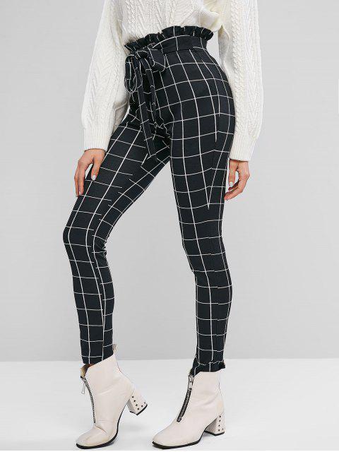 Pantalones de papel pitillo a cuadros anudados ZAFUL - Negro L Mobile