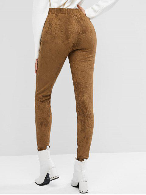 hot ZAFUL Buttons Faux Suede Solid Leggings - DEEP COFFEE S Mobile