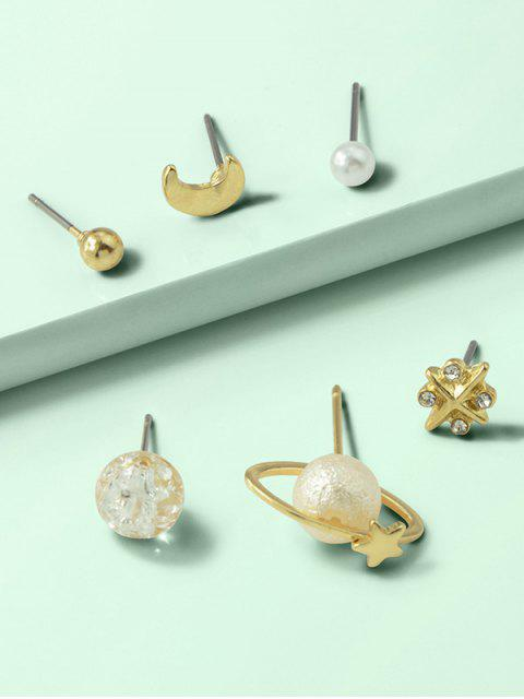 6pcs -Stern- Mond- Pflanzen-Ohrringe- Set - Gold  Mobile