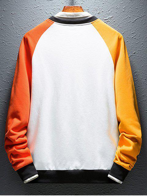 色塊拼接字母印花插肩袖運動衫 - 多 2XL Mobile