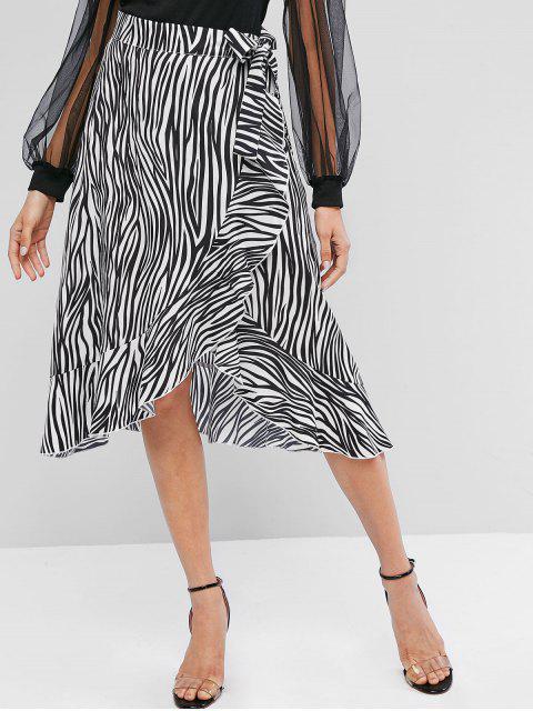 ZAFUL荷葉邊斑馬紋裹身不對稱裙 - 多 S Mobile