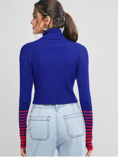 條紋拼接高領修身毛衣 - 藍莓藍 One Size Mobile