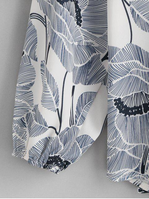 online Flower and Leaves Print Lantern Sleeve Drawstring Blouse - MULTI-A S Mobile