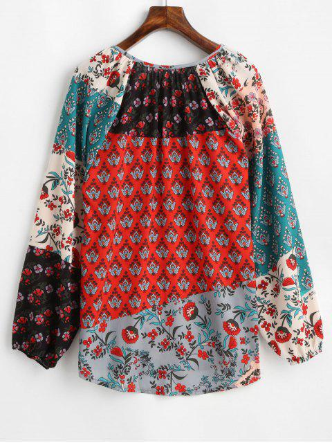 outfits Lantern Sleeve Contrast Floral Print Tasseled Notched Blouse - MULTI-A S Mobile