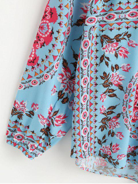 shop Lantern Sleeve Flower Print Tasseled Notched Blouse - MULTI-A S Mobile